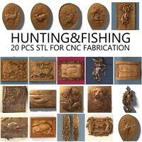 3d stl 20 PCS Model Relief for CNC Router Artcam Cut3d Aspire hunt fish