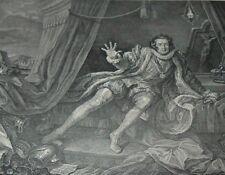 "David ""GARRICK AS RICHARD III"" in a WILLIAM SHAKESPEARE PLAY Hogarth Print"