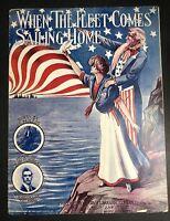1909 Original Sheet Music Patriotic Americana Military Uncle Sam Lady Liberty
