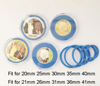10x Capsules Case with adjustable Ring For Nickel American Eagle Coin 20-41mm