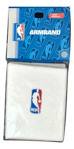 2 NBA White Logoman Embroidered Logo Armbands Arm Bands New In Package