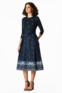 Anthropologie Bird Floral Mixed Media Fit & Flare Dress XS