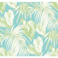 Wallpaper Designer White Tan Green Tropical Palm Leaves on Light Blue