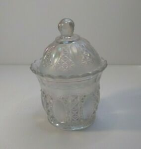 """Imperial Glass White Clear Carnival 6.5"""" in Covered Candy Dish Beaded Jewels"""
