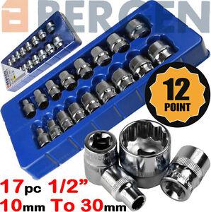 "BERGEN 12 Point Socket Set 1/2"" Drive Double Hex Shallow Sockets Tool Set 17pc"