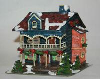Vtg Christmas Ornament Metal Christmas House Cabin Figurine Ornament Gift Wreath