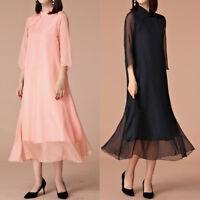 Women Oriental Style Festive Flag Dress 3/4 Sleeve Size 8 10 12 14 16 18 #7699