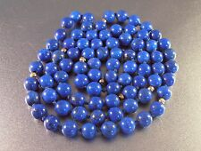 "Vtg Lapis Lazuli Bead 14K Necklace, 32"" Opera Length 65 grams 8m Beads"