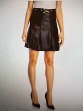 BAGATELLE Womens Black Faux Leather Pleated Short Skirt Medium New with Tag