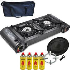 Gaskocher 2 flammig Campingkocher 5 KW + Grillplatte + 4x Gaskartuschen + Tasche