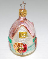 """Hand Blown Glass Christmas Tree Ornament Glittery Cottage Turkey Made Germany 3"""""""