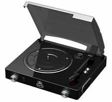 GPO Stylo Vinyl Record Player with Built In Speakers - Black Turntable for 7 12""