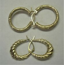2 Pair Yellow Gold Hoop Earrings Designer Marked PZ 14K & ZZ Stamped 585 2 Sets