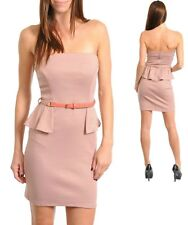 Sz 10 12 Pink Peplum w Belt Formal Casual Pencil Office Club Slim Fit Mini Dress