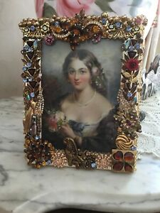Jeweled Picture Frame artwork by Sandra Lange-Antique Jewels One Of A Kind