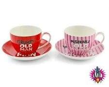 MISERABLE OLD WOMAN GRUMPY OLD MAN COFFEE TEA CUP AND SAUCER SET