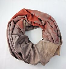 Fall colors infinity scarf leaves ombre brown beige orange