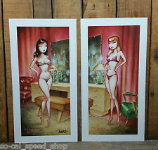 PAIR OF SIGNED KEITH WEESNER PINUP POSTER PRINT RAT HOT ROD GGA ART ATOMIC RETRO
