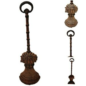 """Cast Iron Tropical Palm Tree Door Stopper with Handle Brown 17"""" Tall Heavy"""