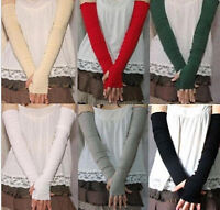 NEW Women Girl warm Arm Warmer cotton Long Fingerless Gloves Gift