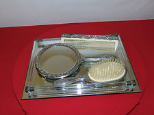 ANTIQUE VICTORIAN HAIR BRUSH / COMB/ MIRROR TRAY SET