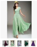 Summer Long Strapless Bridesmaid Dresses Chiffon Evening Formal Party Prom Gown