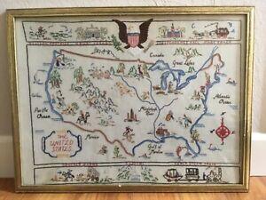 VINTAGE SAMPLER HAND NEEDLEWORK STITCHERY US MAP COLONIAL AMERICA FRAMED