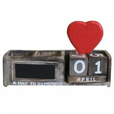 A DAY TO REMEMBER Red Heart Brown Wooden Pen Holder Chalkboard Calender Calendar
