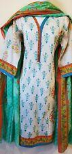 Pakistani 3PC Shalwar Kameez Cotton Printed Multi White Women Size M NEW