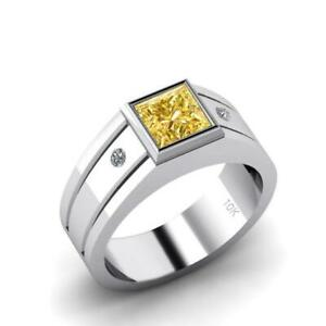 Men's Gold Pinky Ring Square Yellow Citrine with 2 Real Diamonds Wide Band Ring