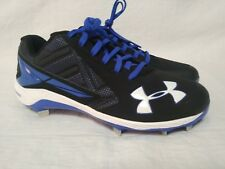 Under Armour Yard Low ST Baseball Cleats Black/Royal Blue Mens Size 12 US