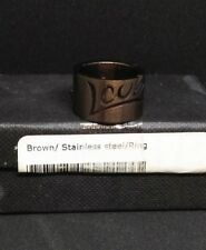 """New Brown stainless steel ring with """"LOVE"""" engraved on top."""