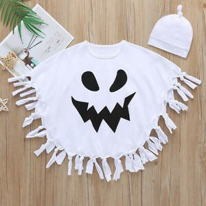 Halloween Kids Boy Girls Ghost Cosplay Cloak Cape Hat Fancy Dress Outfit Costume
