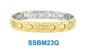 SSBM23G - Gold Men's magnetic stainless steel link bracelet 5000 Gauss 316L