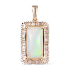 10K Oro Amarillo Opal Blanco Diamante Colgante Joyería CT 2.9 H Color I3 Clarity