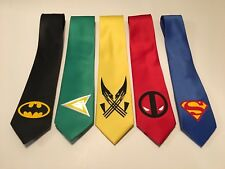 Wedding Package ! 5 Ties! Batman , Superman, Green Arrow, Deadpool, Wolverine