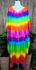 Plus Size Long Rainbow Mix Tie Dye Maxi Kaftan -Dress Size 20-22-24-26