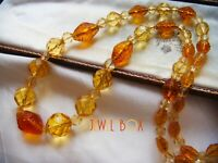 ART DECO BOHEMIAN CZECH CITRINE CARVED GLASS CRYSTAL VINTAGE LONGER NECKLACE