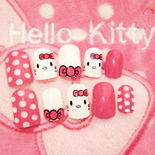 SHORT *HELLO KITTY POLKA* FULL COVER Press On 24 Nail Tips + Glue!