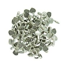 100 x Antique Silver Heart Glue on Bails Setting For Necklaces Pendants