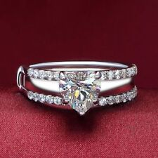 Certified 3.20Ct White Heart Cut Diamond Engagement Wedding 14K White Gold Ring