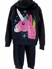 NWT GIRLS XS 3/4 SUPER SOFT BY BUTTER 2 PC BLING UNICORN JACKET PANTS OUTFIT SET