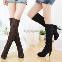 Ladies Womens Knee High Stiletto Heel Winter Warm Boots Long Shoes Snow Shoes