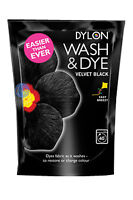VELVET BLACK DYLON WASH AND DYE 350G FABRIC CLOTHES MACHINE DYE, RESTORES COLOUR