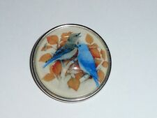 """Bluebirds w/ Autumn Leaves Domed Looking Glass Shank Button 1-1/2"""""""