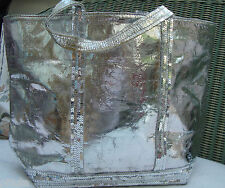 AUTH VANESSA BRUNO MEDIUM SILVER GOAT LEATHER CABAS w/t PAILLETTES -  BAG
