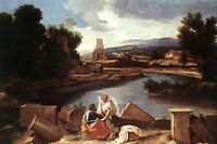 Large Oil painting Landscape with St Matthew and the Angel no framed canvas