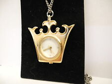 DISNEY PRINCES CROWN PENDANT WATCH GOLD WITH CHAIN NEW CLEARANCE REDUCED
