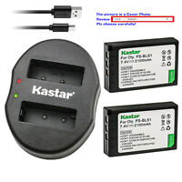 Kastar Battery Dual Charger for Olympus BLS-1 PS-BLS1 BLS1 & Olympus E-420 E-450