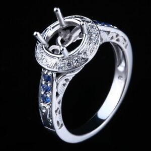 10K White Gold 7mm Round Semi Mount.4ct Diamond&Sapphire Engagement Wedding Ring